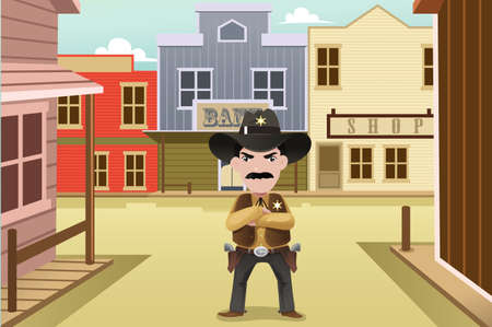 western town: illustration of sheriff standing in front of an old western town