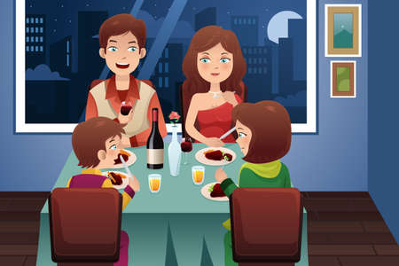 illustration of family having dinner in a modern house with city lights in the background