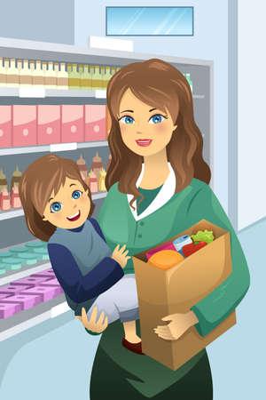 mujer en el supermercado: Ilustración de hermosa madre lleva a su hija y de ultramarinos