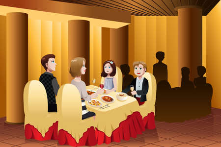 eating food: illustrazione della famiglia felice mangiare fuori in un ristorante Vettoriali