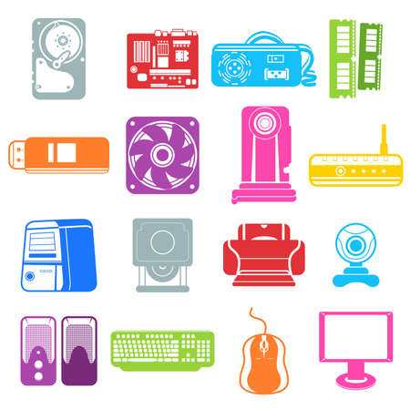 optical disk: illustration of computer component icons Illustration