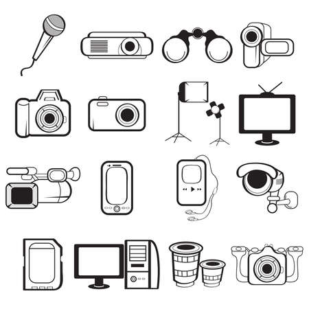 handycam: illustration of electronic equipment icon sets