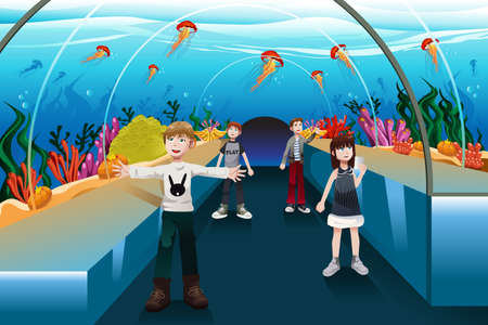 illustration of kids looking at jellyfish in a big aquarium Vector