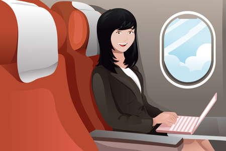 illustratie van de zakenvrouw werken op haar laptop terwijl het vliegen op het vliegtuig