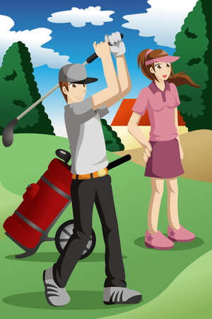 woman golf: illustration of young people playing golf together