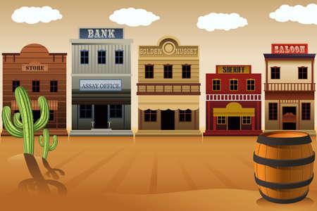 oeste: Una ilustración del pueblo del viejo oeste