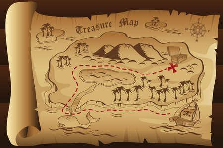 mappa del tesoro: Una illustrazione di mappa del tesoro
