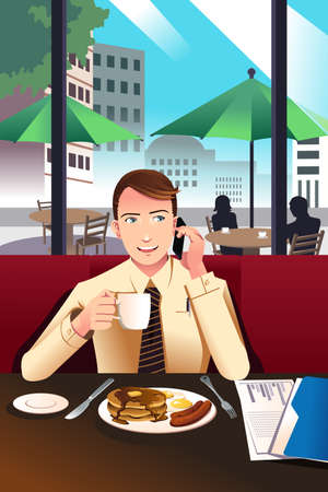 A illustration of businessman on the phone while having breakfast in a cafe Vector