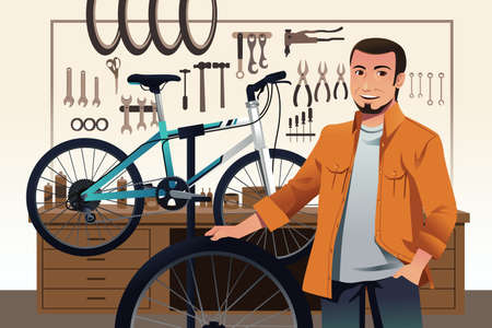 A illustration of bicycle store owner in his bike repair shop Vector