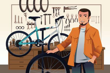 repair shop: Una ilustraci�n del due�o de la tienda de bicicletas en su taller de reparaci�n de bicicletas