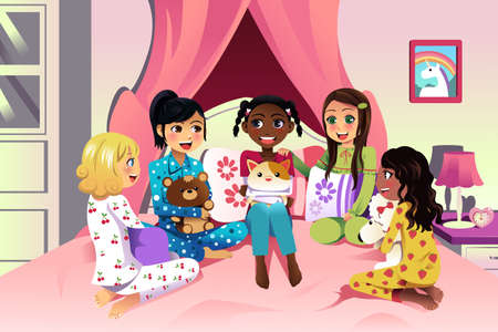 illustration of multi ethnic girls having a sleepover Иллюстрация