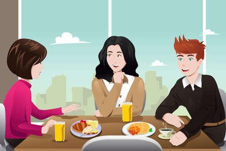 illustratie van de mensen uit het bedrijfsleven samen eten in de cafetaria