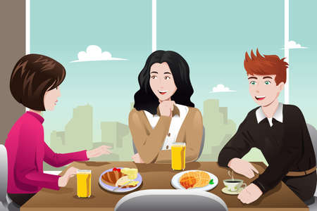 illustration of business people eating together in the cafeteria Vector