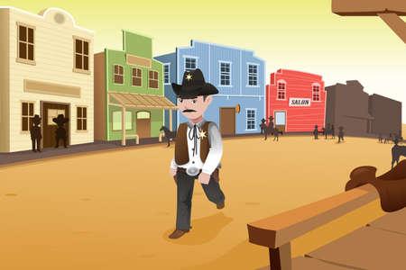古い西部の町の上を歩いての保安官のイラスト