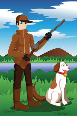 fusil de chasse: illustration de chasseur de canard avec son chien