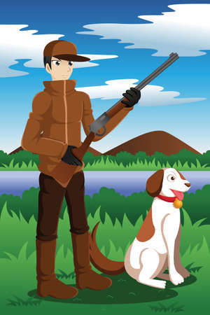 illustration of duck hunter with his dog Vector
