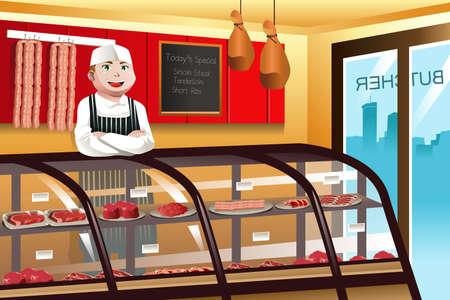 Carnicería: ilustración de carnicero en una tienda de carne Vectores