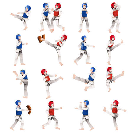 taekwondo: illustration of Boy and girl in taekwondo in different positions