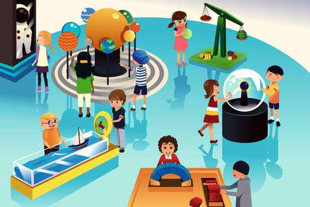 bambini felici: illustrazione di bambini in un viaggio in un centro di scienza Vettoriali