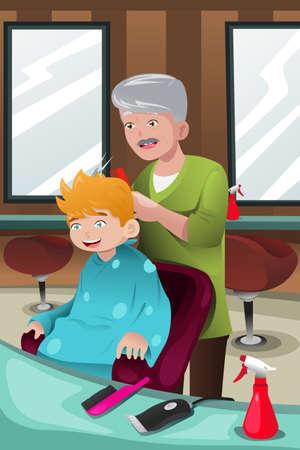 illustratie van kind krijgt een knipbeurt bij een kapperszaak Stock Illustratie