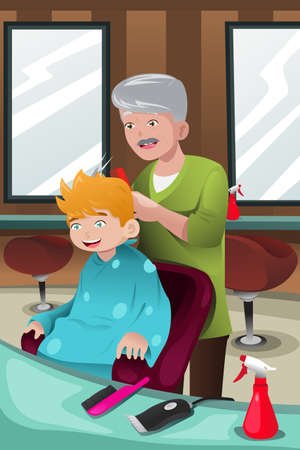 illustration of kid getting a haircut at a barber shop Vector