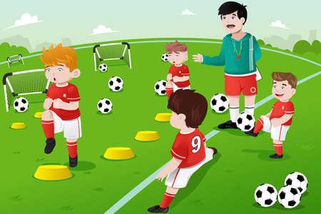 A illustration of kids in soccer practice Vettoriali