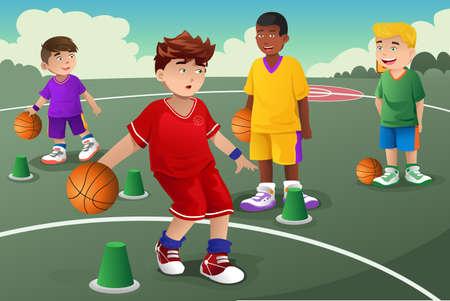 Een illustratie van kinderen het beoefenen van basketbal