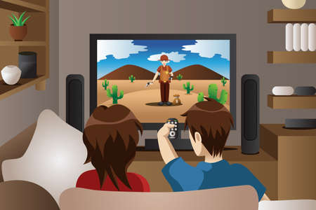 family  room: A illustration of modern couple watching television in the living room