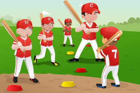 jugando: Una ilustraci�n de los ni�os a practicar el b�isbol