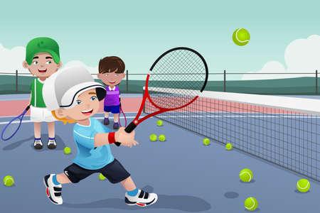 Een illustratie van kinderen beoefenen van tennis