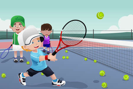 spielende kinder: Eine Illustration der Kinder �ben Tennis Illustration