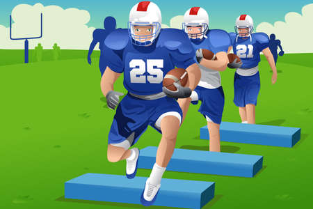 A illustration of kids practicing American football