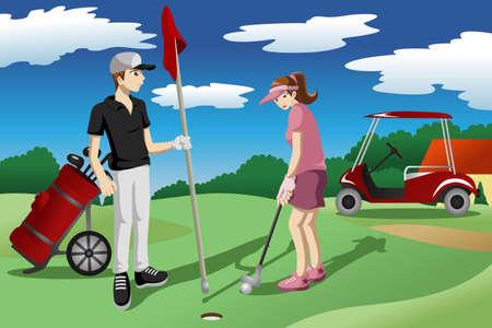 함께 골프를 재생하는 젊은 사람들의 그림 일러스트