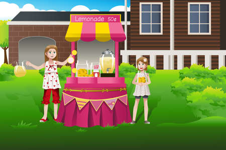 illustration of kids selling lemonade in a lemonade stand Vector