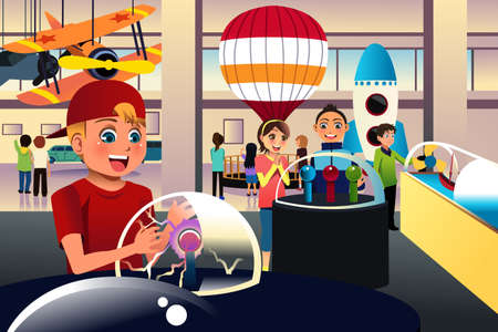 illustration of kids on a trip to a science center Ilustração