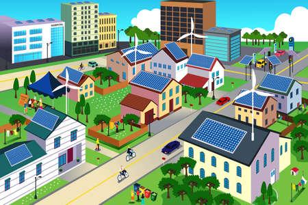 ilustración de escena de la ciudad, donde los residentes son muy conscientes de su entorno y de ir concepto verde