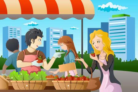 illustratie van personen aan het winkelen in een outdoor boerenmarkt