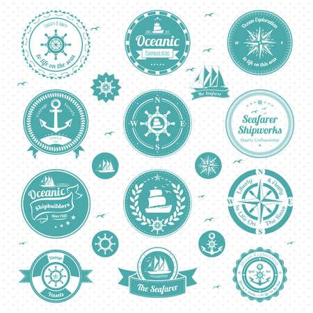illustratie van nautische icons Vector Illustratie
