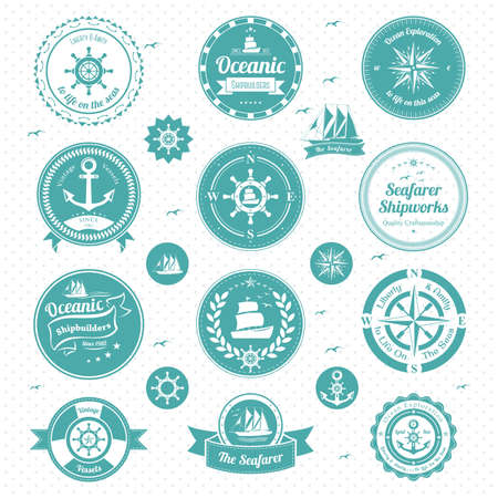 illustration of nautical icons Vector
