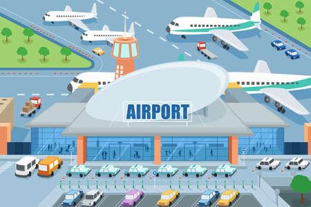 外の空港のイラスト  イラスト・ベクター素材