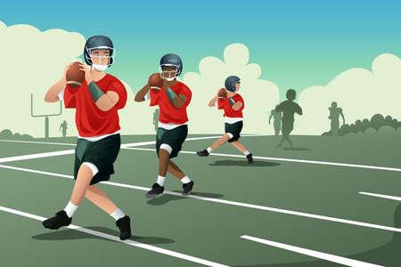 kids football: illustration of kids practicing football