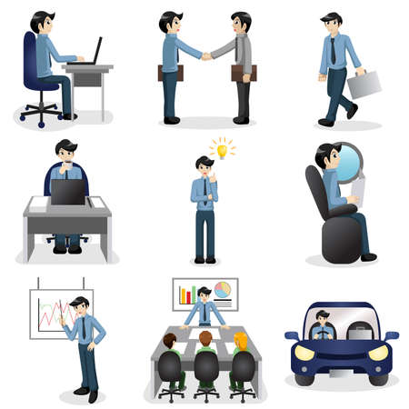 illustration of Small business people icons in different situation  Vector