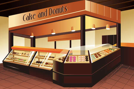 pastries: illustration of cake and donuts section in grocery store