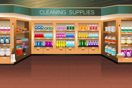 食料品店で供給セクションを洗浄のイラスト