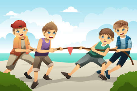 tug of war: illustration of cute boys playing tug of war