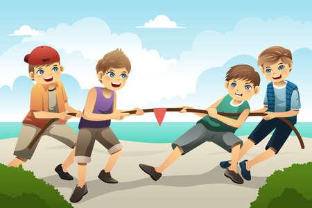 Illustration von niedlichen Jungen spielen Tauziehen Vektorgrafik