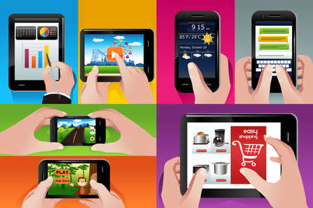 illustration of people using tablet and cell phones Vector