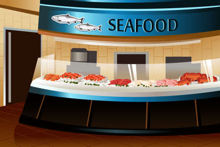 illustration of seafood section in grocery store Illustration