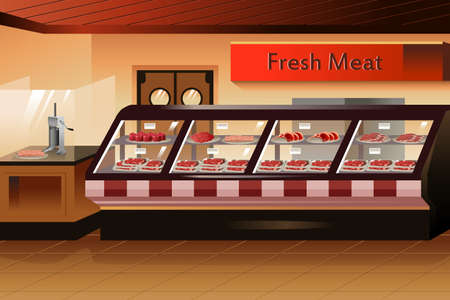 illustration of meat section in grocery store