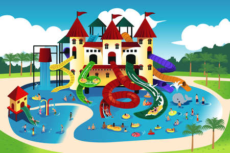 ilustración de los pueblos que juega en el parque acuático